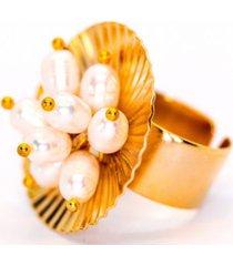 anillo capullo baño oro tejido mano perlas bijulovers