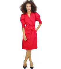 vestido camisero con manga globo y cinturón en tela rojo unipunto 2343