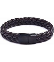 manilla pulsera trenzada acero ji-4 negro marron