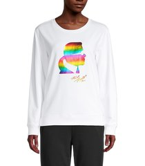 karl lagerfeld paris women's rainbow graphic sweatshirt - white rainbow - size xs