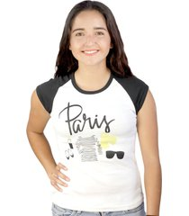 soffe paris quote outfit graphic printed women's casual raglan t-shirt, white