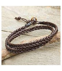 men's tiger's eye and leather wrap bracelet, 'double chocolate' (thailand)