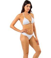 calcinha biquini avulso thais ferreira liso semifio lateral franzida - feminino