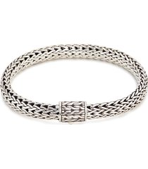 silver woven chain bracelet