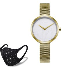 reloj gold nature  fashion mask con cristales toms de regalo