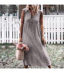 zanzea vestido de playa sin mangas con cuello en v para mujer vestido de camisa a media pierna suelta para mujer -gris