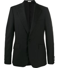 alexander mcqueen stitched lapel tuxedo jacket - black