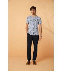 camiseta tradicional estampada malwee cinza claro - pp