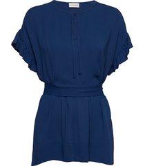 bai blouses short-sleeved blå by malene birger