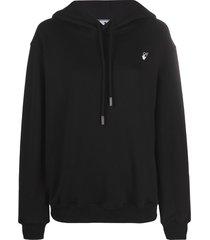 off-white floral-arrows hoodie - black
