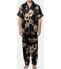 gli indumenti da notte di seta d'imitazione morbidi di stampa sottile del drago degli uomini mettono i pigiami a maniche corte