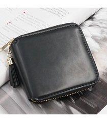 billetera mujeres- monedero pequeño cuadrado simple-negro