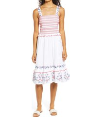 draper james taylor smocked sleeveless dress, size x-large in magnolia white at nordstrom