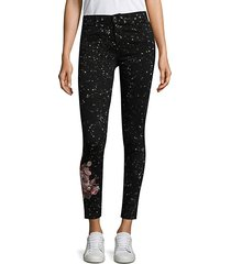embroidered floral ankle jeans