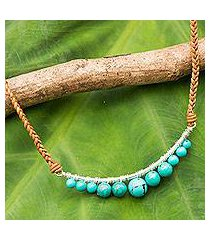 calcite and leather pendant necklace, 'ko phangan beach' (thailand)
