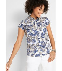 gedessineerde blouse, korte mouw