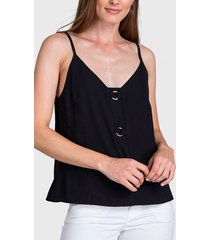 blusa ash lisa con argollas decorativas negro - calce regular