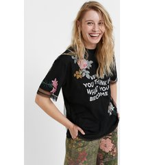 floral mesh t-shirt - black - xl