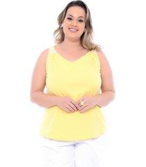 roupas plus size domenica solazzo regatas amarelo - kanui