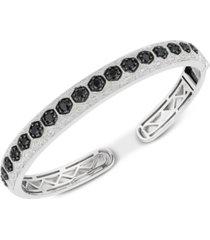 black sapphire (1-7/8 ct. t.w.) & diamond (1/10 ct. t.w.) bangle bracelet in sterling silver