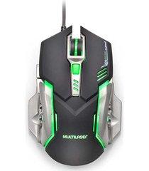 mouse gamer multilaser 2400dpi 6 botões preto e grafite com led mo269