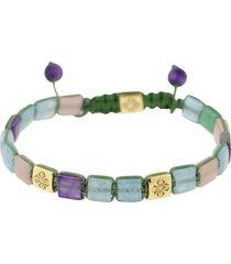 aquamarine, amethyst, quartz and diamond lock bracelet