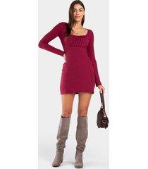 katelyn long sleeve knit dress - burgundy