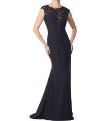 dislax cap sleeves lace chiffon sheath mother of the bride dresses black us 6