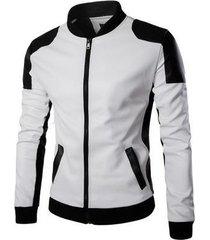 nuevos hombres stand-up collarwear tendencia blanco y negro monocromático oversize fur coat y668