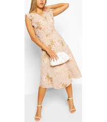 floral ruffle wrap skater dress, ivory