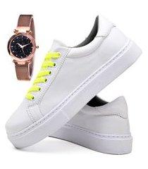tênis sapatênis casual glamour com relógio gold feminino dubuy 310od branco
