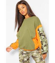 camouflage trui met blokkleuren, kaki