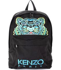 kenzo xl backpack with multicolor tiger made of black fabric with light blue logo