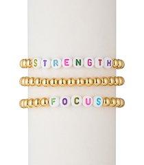 eye candy la women's strength focus alphabet bead & 18k gold plated bracelet set
