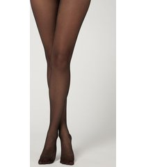 calzedonia glitter 40 denier mesh tights with flock print woman black size 1/2