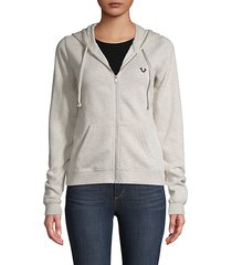 zip-front cotton-blend fleece hoodie
