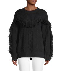 avantlook women's fringed sweater - black - size m