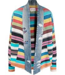 greg lauren gl1 blanket scrapwork jacket - blue