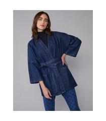 amaro feminino kimono jeans, azul indigo