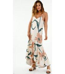 vestido de mujer, diseño largo, con cuello en v de tiras graduables, con maxi estampado de flores