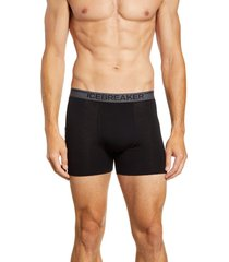 men's icebreaker anatomica merino wool blend boxer briefs, size small - black