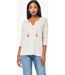 lilla p 3/4 sleeve split neck sweater