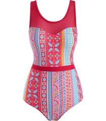 lace up back mesh panel ethnic printed one-piece swimsuit