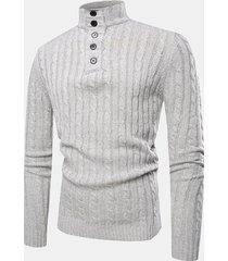 uomo casual traspirante pulsanti collo alto colore solido manica lunga maglione