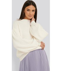 na-kd balloon sleeve knitted sweater - white