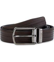 boss hugo boss men's ofis leather belt - dark brown