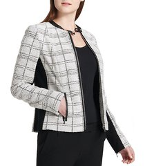 tweed center zip jacket
