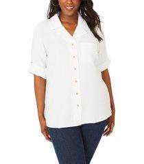 plus size women's foxcroft vena cotton gauze tunic, size 22w - white