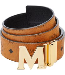 women's mcm flat m reversible belt, size one size - cognac