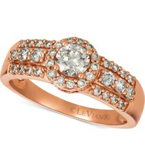 le vian diamond halo ring (3/4 ct. t.w.) in 14k rose gold